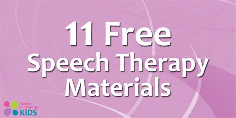 Therapy Resources 11 Free Speech Therapy Materials From Speech And Language