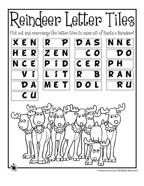 printable reindeer activities reindeer word puzzle woo jr kids activities