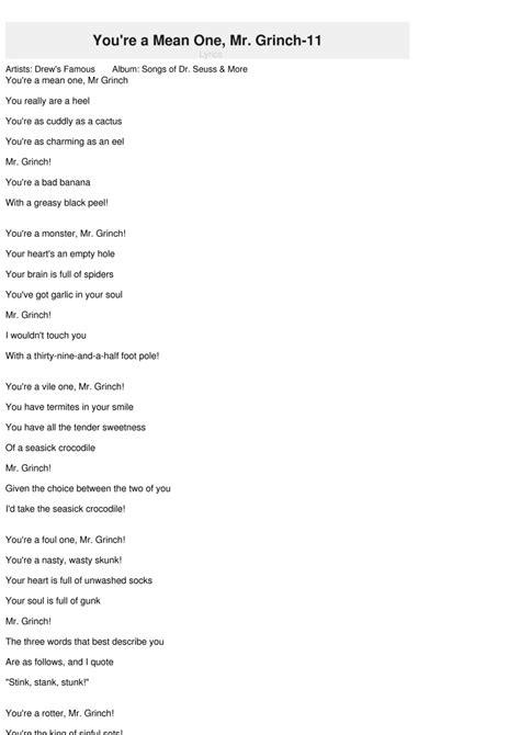 how the grinch stole christmas lyrics