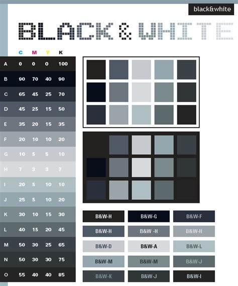 black grey white color scheme black white color schemes color combinations color palettes for print cmyk and web rgb