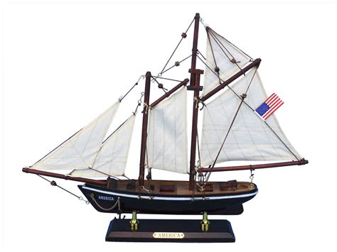 america 16 quot wood sail boat centerpiece americas cup