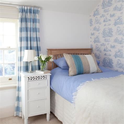 toile bedroom ideas pale blue toile and striped bedroom country design ideas housetohome co uk