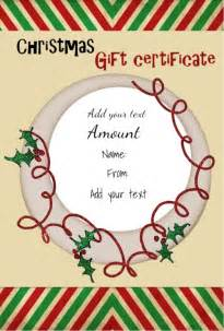 christmas gift certificate templates certificate templates
