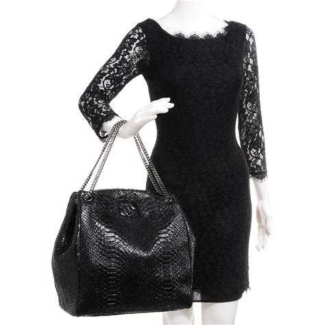 Chanel Richie And Chanel Python Tote by Chanel Python Large Tote Black 79658
