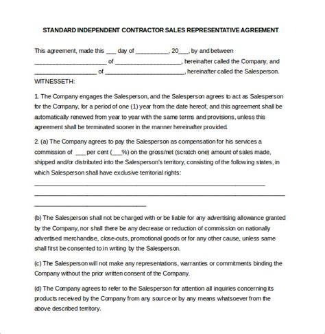 independent sales rep agreement template 21 commission agreement template free sle exle