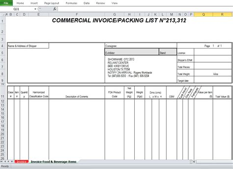 blank commercial invoice template commercial invoice sle template excel tmp