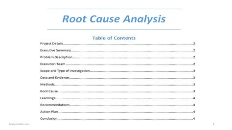 rca route cause analysis word template