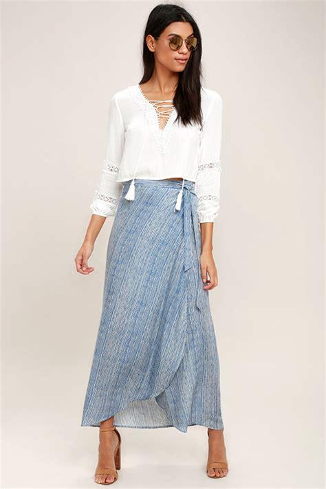 44126 Casual Blue Stripe S M L Skirt Le181117 Import white and blue skirt high low skirt wrap skirt midi skirt 42 00