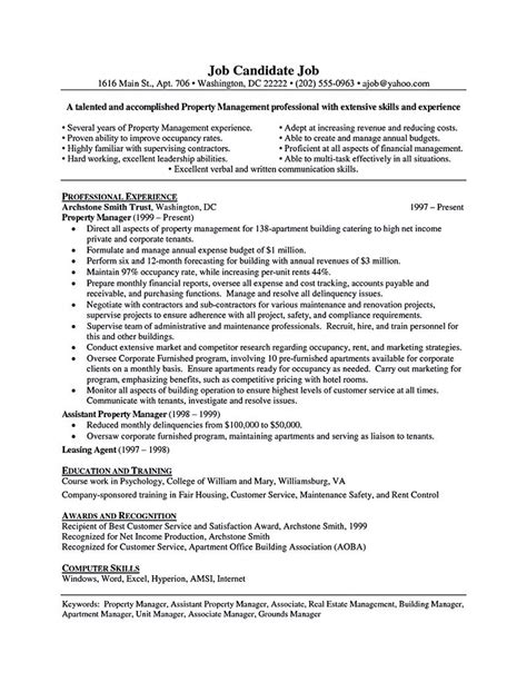 management resume templates property manager resume should be rightly written to