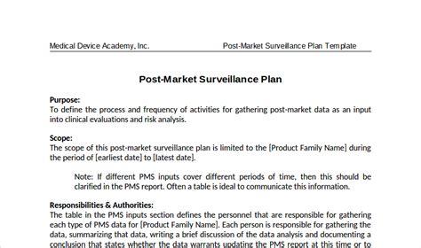 Post Market Surveillance Report Template Post Market Surveillance Plans How To Write One For Ce