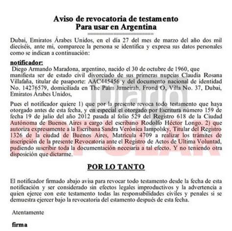 revoca testamento maradona anul 243 testamento que beneficiaba a dalma y