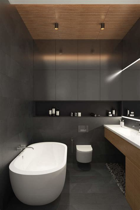 charcoal gray bathroom modern apartment with a muted color palette marble and
