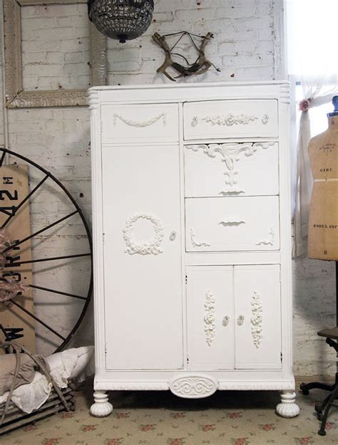 painted cottage chic shabby white armoire am235