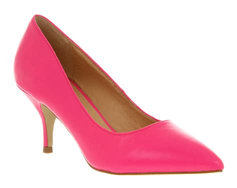 womens office vital court neon pink leather heels shoes