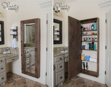 how to make bathroom mirror storage diy crafts