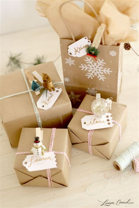 how to wrap a perfect present lauren conrad holiday diy how to make clothespin gift tags gift tags