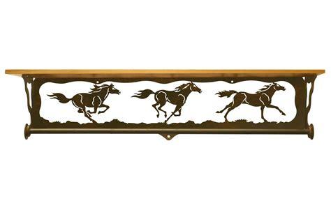 34 quot horses metal towel bar with pine wood top