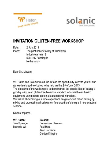 Invitation Letter Workshop Invite Solanic Gluten Free Workshop With W P Haton