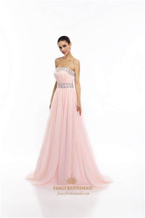 Light Pink Chiffon Dress by Light Pink Chiffon Strapless Prom Dress With Ruched Bust And Beading Fancy Bridesmaid Dresses