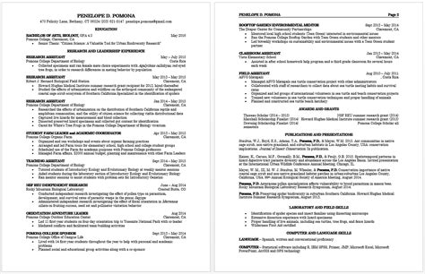 Cv Usa by How To Write A Curriculum Vitae Pomona College In