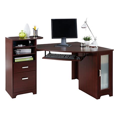 corner computer desk office depot bradford corner desk cherry by office depot officemax