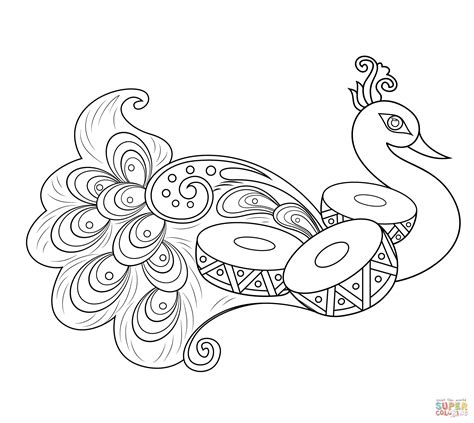 rangoli with peacock coloring page free printable