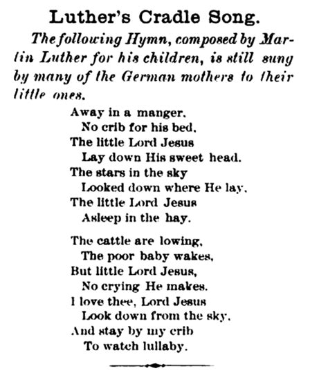printable lyrics for away in a manger en krybbe var vuggen wikipedia