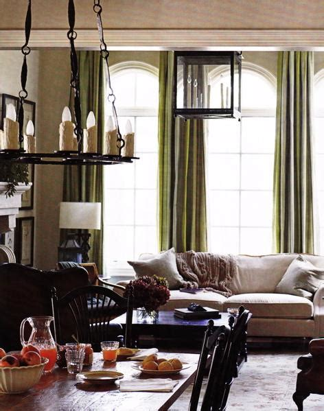 green silk curtains transitional living room