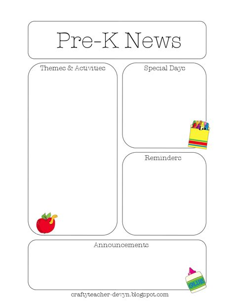 Newsletter Templates Monthly Preschool Newsletter Template