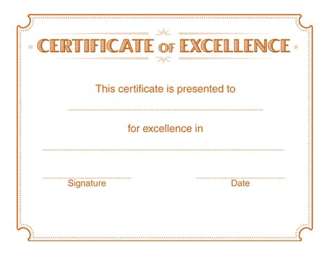 printable certificate templates excellence certificate template