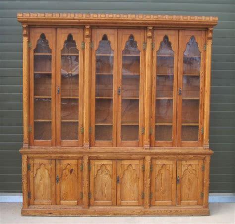 antique victorian pitch pine bookcase gothic antique