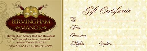 bed and breakfast gift card gift certificate birmingham manor bed and breakfast