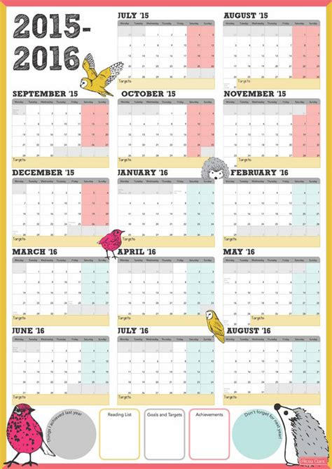 new year 2016 planning ks1 large academic wall calendar calendar template 2016