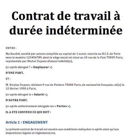 Contrat De Travail Cadre Cdi mod 232 le contrat de travail gratuit lettre de motivation 2018