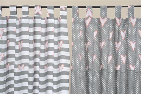 vorhang rosa grau vorhang schlaufenschal grau wei 223 mit herzen 240x140cm