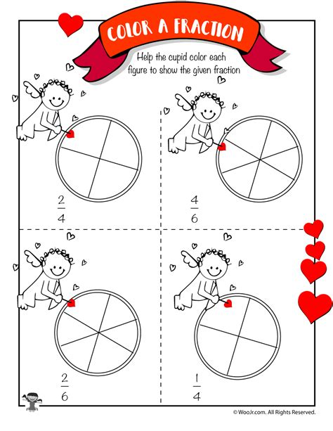 day math worksheets cupid color the fraction woo jr activities