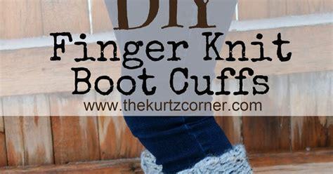 finger knit boot cuffs the kurtz corner diy finger knitting 30 minute boot cuffs