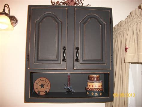 finished bathroom wall cabinet  black chalkboard paint  distressed ginas diy