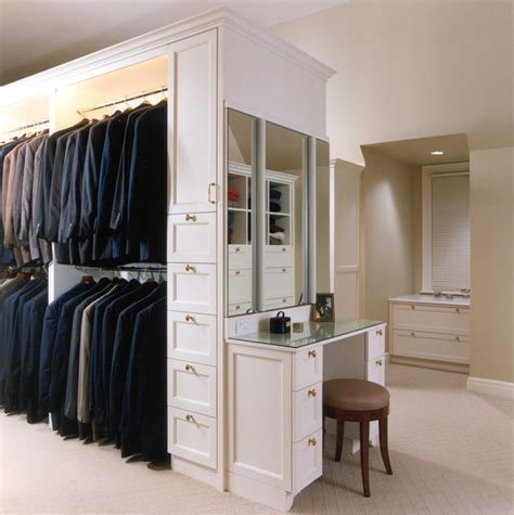 dressing closet closet dressing room w vanity traditional closet other by benvenuti and stein