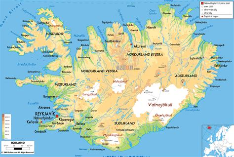 map iceland physical map of iceland ezilon maps