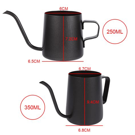 Drip Stainless Steel 250 Ml 250ml black stainless steel pour coffee drip pot kettle gooseneck spout