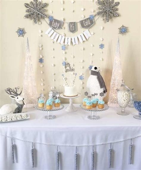 White Baby Shower Ideas by Silver And White Snowy Baby Shower Baby Shower Ideas
