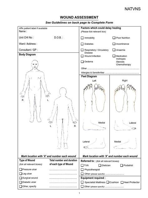 chart wound assessment chart