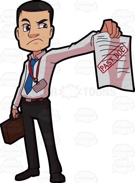 an irritated bill collector clipart vector