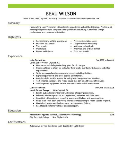 Technician Resume Exles by Lube Technician Resume Sle Technician Resumes Livecareer
