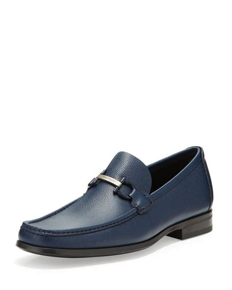 navy leather loafers ferragamo regal pebbled leather loafer in blue for