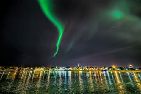 reykjavik iceland northern lights aurora borealis reykjavik city