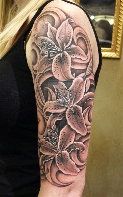 black and white half sleeve tattoo designs black n grey lilies by asussman on deviantart