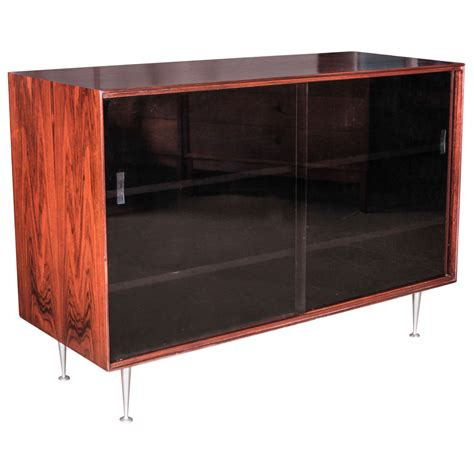 Black Sideboard With Glass Doors George Nelson Rosewood Thin Edge Sideboard With Black Glass Doors 1950s At 1stdibs