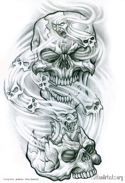 drawn smoke skull pencil and in color drawn smoke skull